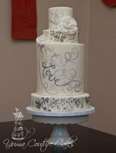 Stunning winter wedding cake - love the hand painting to match the brides dress,...