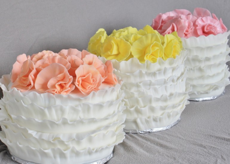Ruffle cakes made for baby shower
