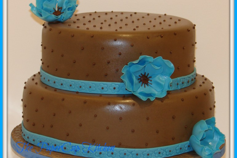 Chocolate and Baby Blue Wedding Cake