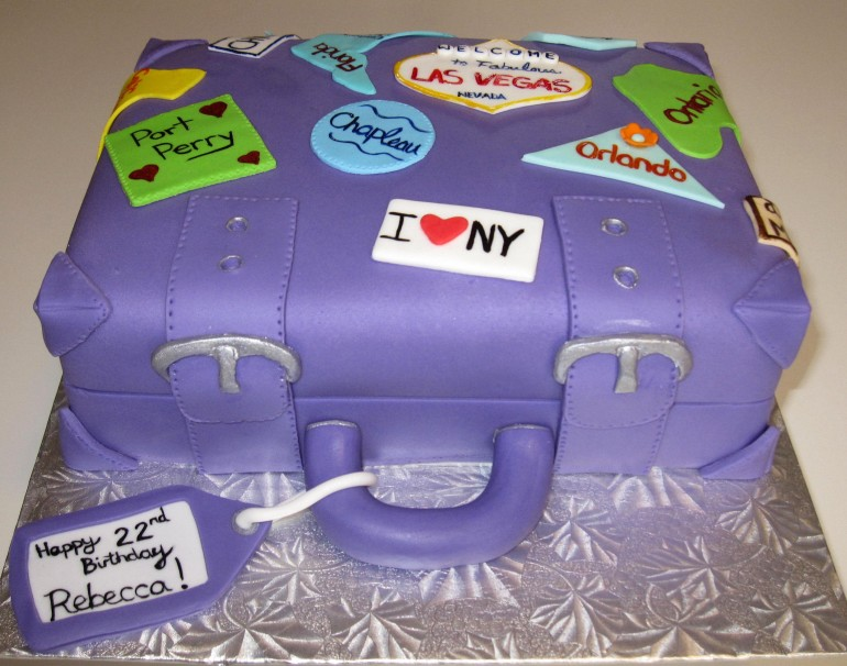 Purple Suitcase Birthday Cake