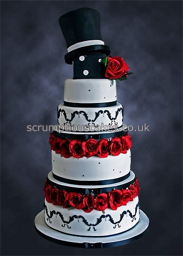 Black & White with Red Roses Wedding Cake