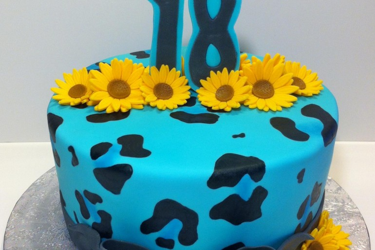 Leopard and Sunflowers Cake