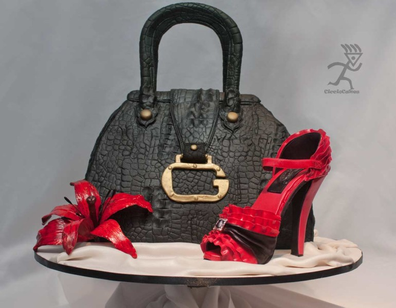 Crocodile Handbag Cake with Pink Ruffle Sugarpaste Shoe