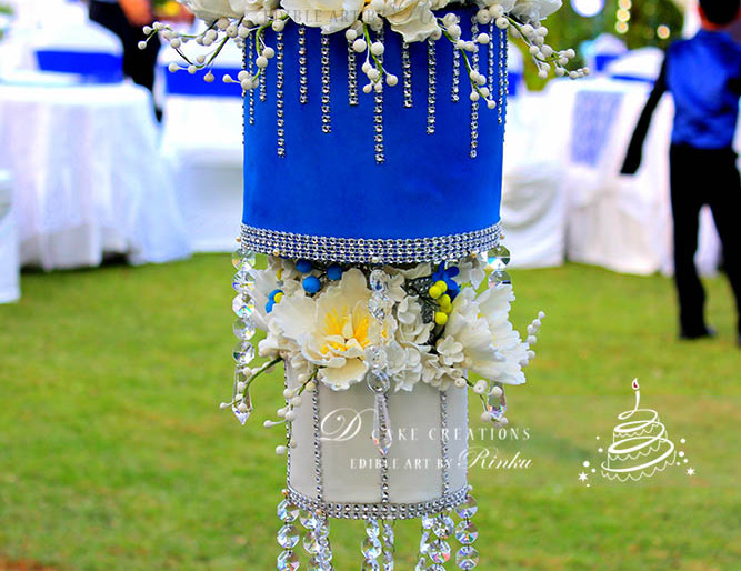 Royal Blue and White Chandelier Cake