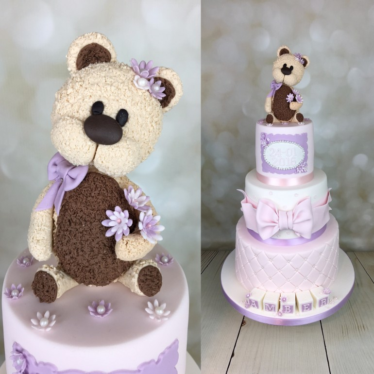 Teddy bear christening cake for Amber