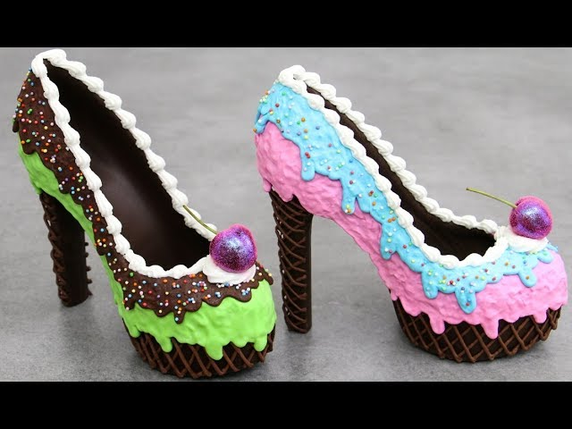 Drippy ICE CREAM High Heels CHOCOLATE Shoes by Cakes StepbyStep